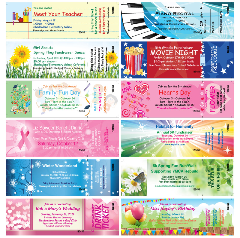 samples of event tickets